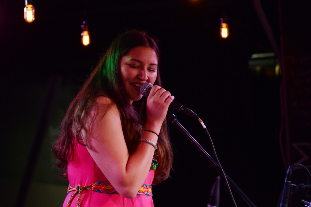 Angie Citlali sings at the Stand With Standing Rock benefit event at the Whole Music Club on Nov. 28, 2016.
