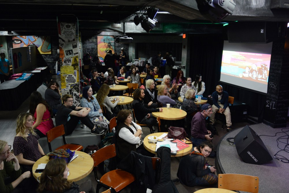 Attendees gather at the Whole Music Club for the Stand With Standing Rock benefit event on Nov. 28, 2016.