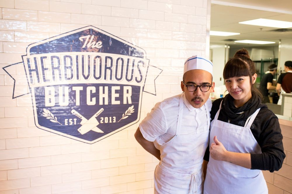 <p>Sibling-duo Kale and Aubry Walch pose inside their butcher shop, The Herbivorous Butcher, on January 18, 2016.</p>