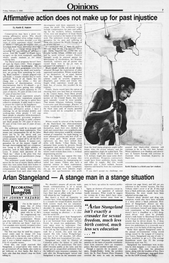 The Editorial & Opinion section of Minnesota Daily's Feb. 2, 1990 edition.