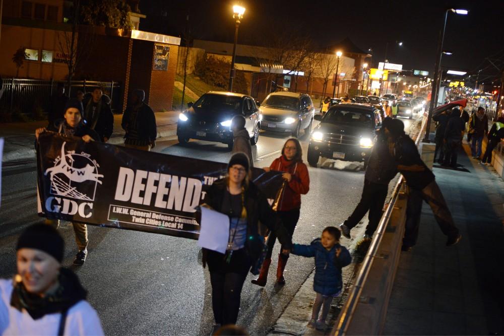 Demonstrators march in support of Philando Castile down University Avenue in St. Paul on Wednesday, Nov. 16, 2016.