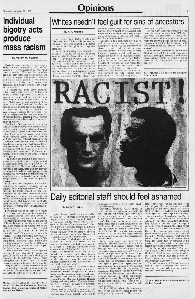 The Editorial & Opinion section of Minnesota Daily's Nov. 30, 1989 edition.