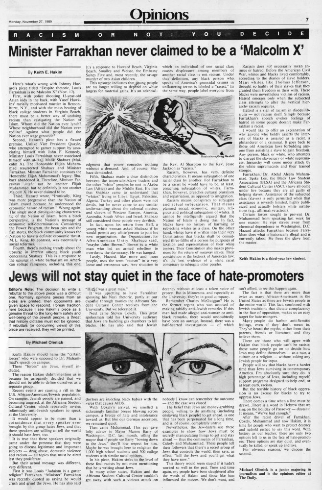 The Editorial &Opinion section of Minnesota Daily's Nov. 27, 1989 edition.