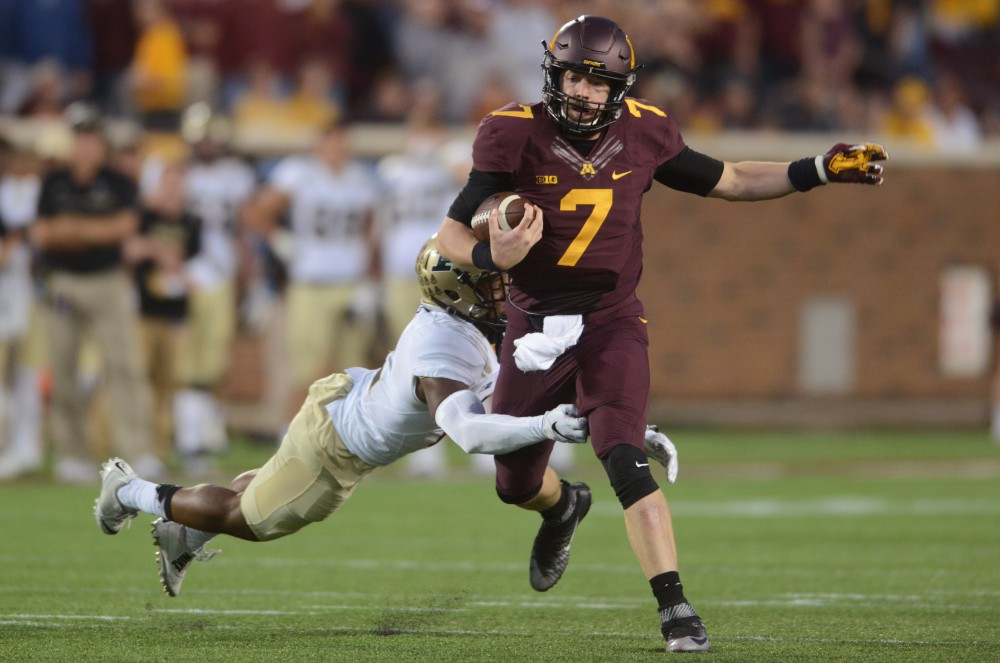 Gophers quarterback Mitch Leidner is tackled during the Gophers game against Purdue at TCF Bank Stadium on Nov. 5, 2016, where the Gophers won 44-31.