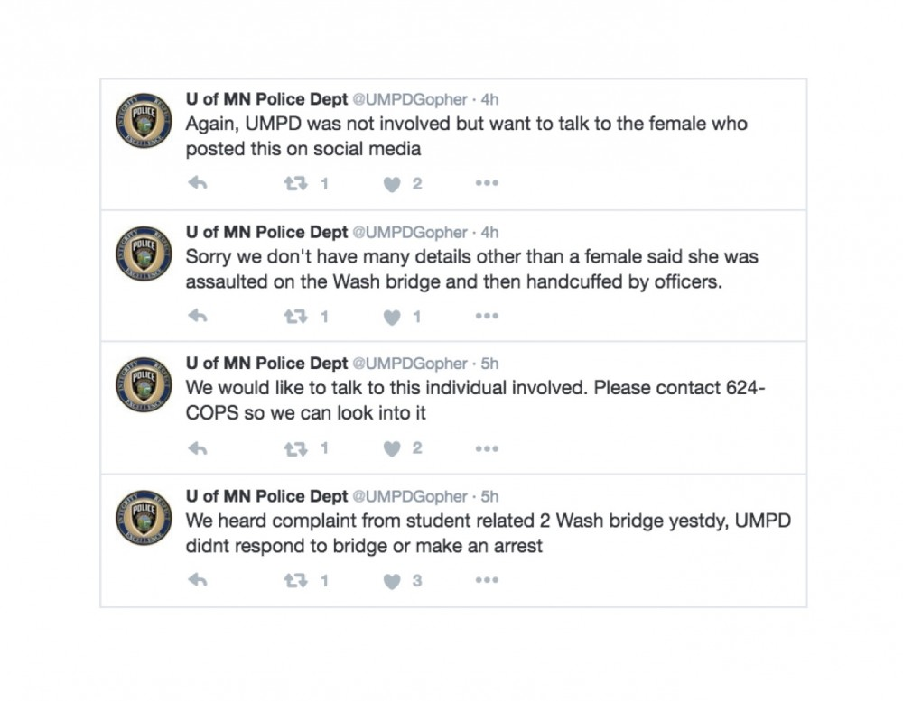 On Twitter, UMPD says they did not respond to University student's alleged campus assault.