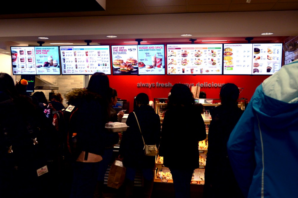 Tim Hortons serves a large group of customers on Nov. 4, 2016. The Canadian chain recently opened in Dinkytown and specializes in coffee and donuts.