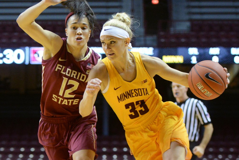 Gophers guard Carlie Wagner runs with the ball against Florida State on Nov. 30, 2016 at Williams Arena.