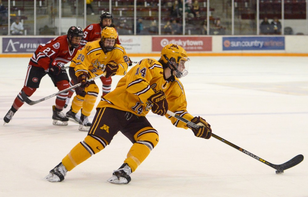 Sophomore defender Sophie Skarzynski handles the puck at Ridder Arena on Oct. 29, 2016, where the Gophers beat St. Cloud State 3-0.