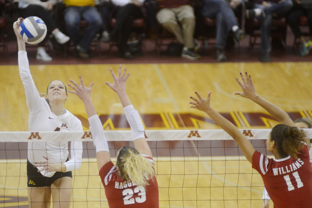 Gophers outside hitter Sarah Wilhite winds up a spike against Wisconsin on Saturday, Nov. 26, 2016 at the Sports Pavilion.