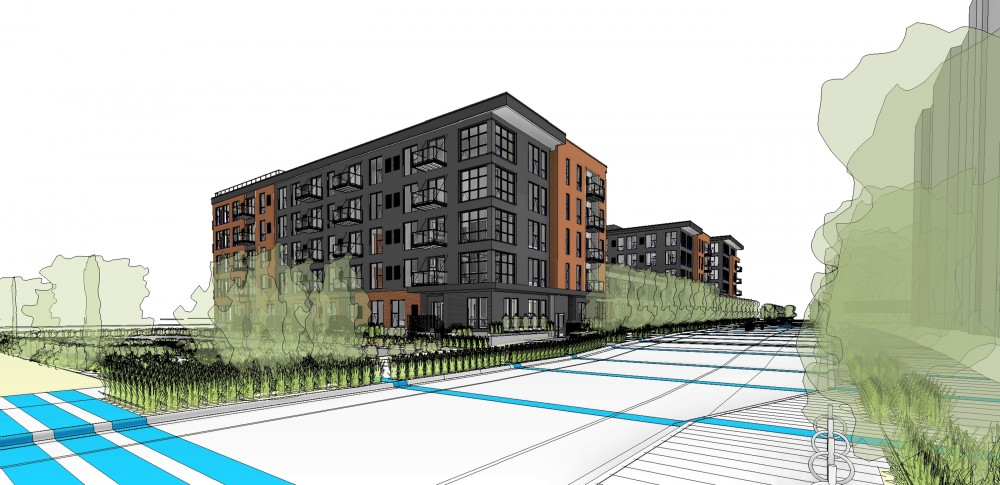 A rendering showing Green on Fourth —a proposed six-story apartment complex located in Prospect Park.