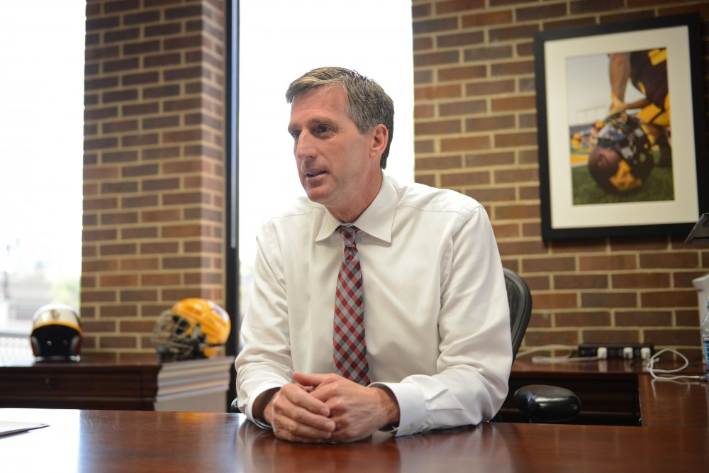 Athletics Director Mark Coyle sits down to talk with the Minnesota Daily on Friday, Sept. 30, 2016 in his office at Bierman Field Athletic Building.