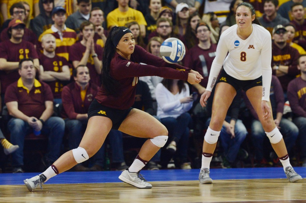 Defensive specialist Dalianliz Rosado hits the ball on Friday, Dec. 9, 2016 at the Sports Pavilion during the Gophers NCAA Regional semi-final game against Mizzou.