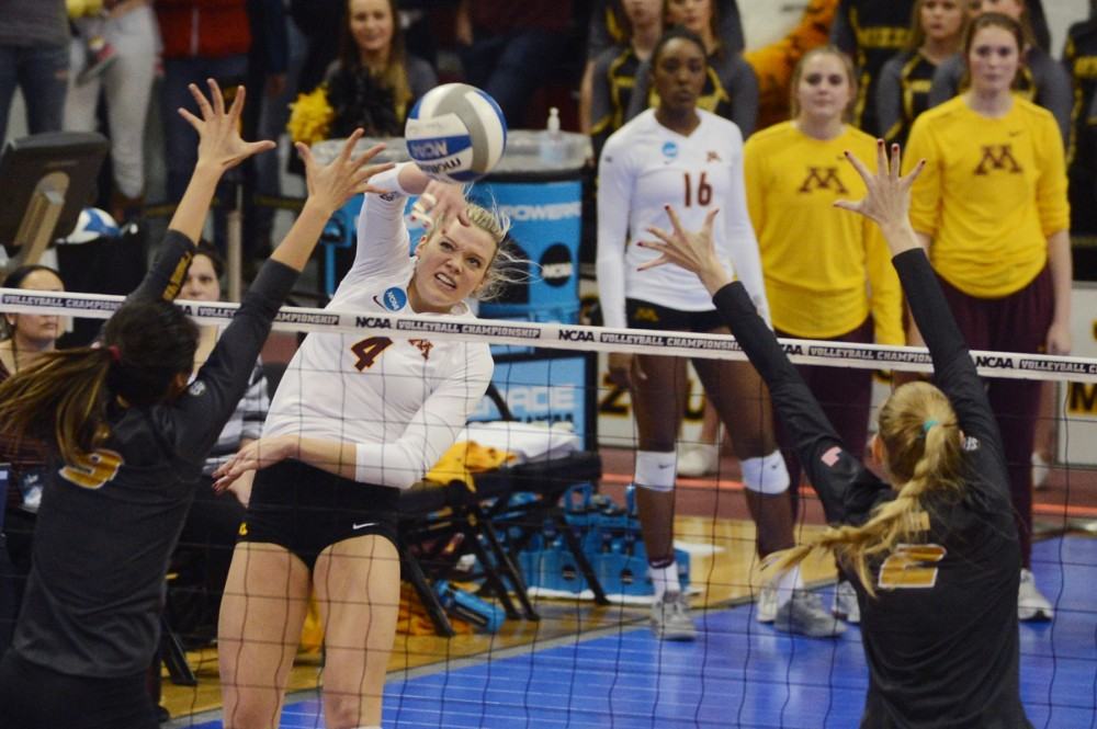 Middle blocker Paige Tapp returns the ball to Mizzou on Friday, Dec. 9, 2016 at the Sports Pavilion during the Gophers NCAA Regional semi-final game.