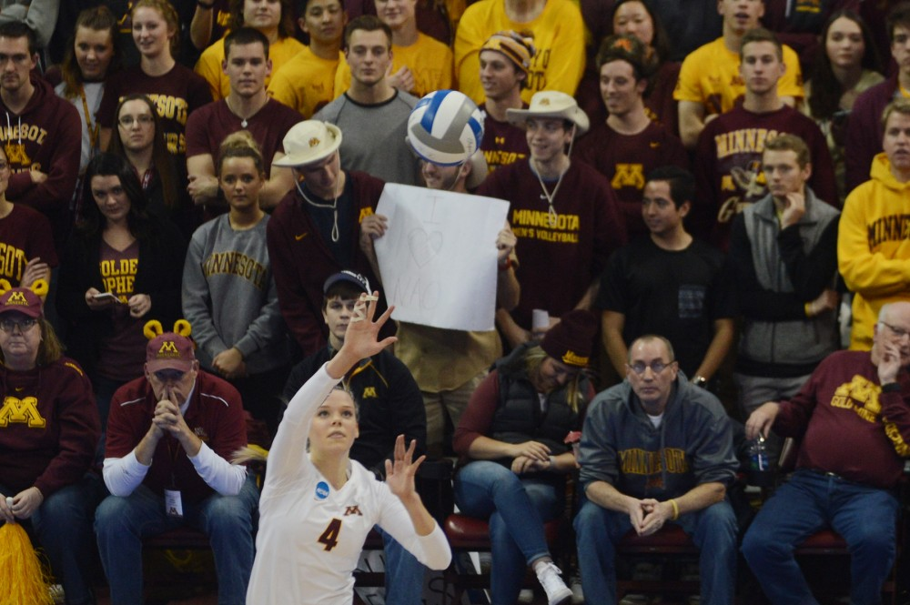Middle blocker Paige Tapp serves the ball on Friday, Dec. 9, 2016 at the Sports Pavilion during the Gophers NCAA Regional semi-final game against Mizzou.