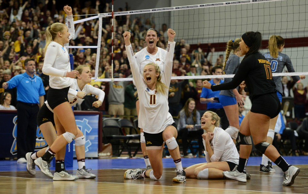 TheGophers volleyball team celebratesits sweep of UCLA, their fourth-straight NCAA win,in the Sports Pavilion onSaturday, Dec. 10, 2016.TheGopherswillmove onin the NCAA tournamentto face Stanfordin Columbus, Ohio on Dec. 15.