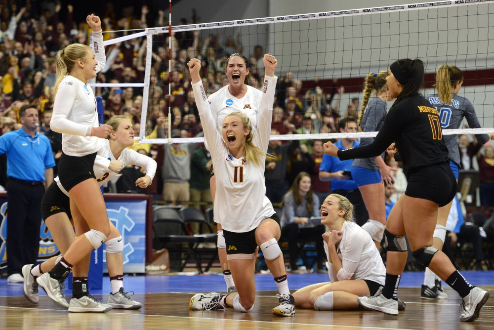 The Gophers volleyball team celebrates its sweep of UCLA, their fourth-straight NCAA win, in the Sports Pavilion on Saturday, Dec. 10, 2016. The Gophers move on to the NCAA tournament's Final Four to face Stanford in Columbus, Ohio on Dec. 15.