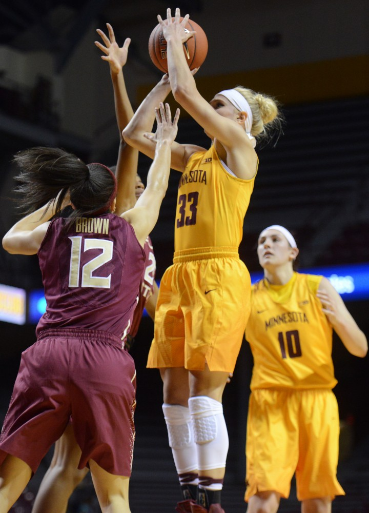 Gophers forward Carlie Wagner and center Jessie Edwards play against Florida State at Williams Arena on Nov. 30, 2016.