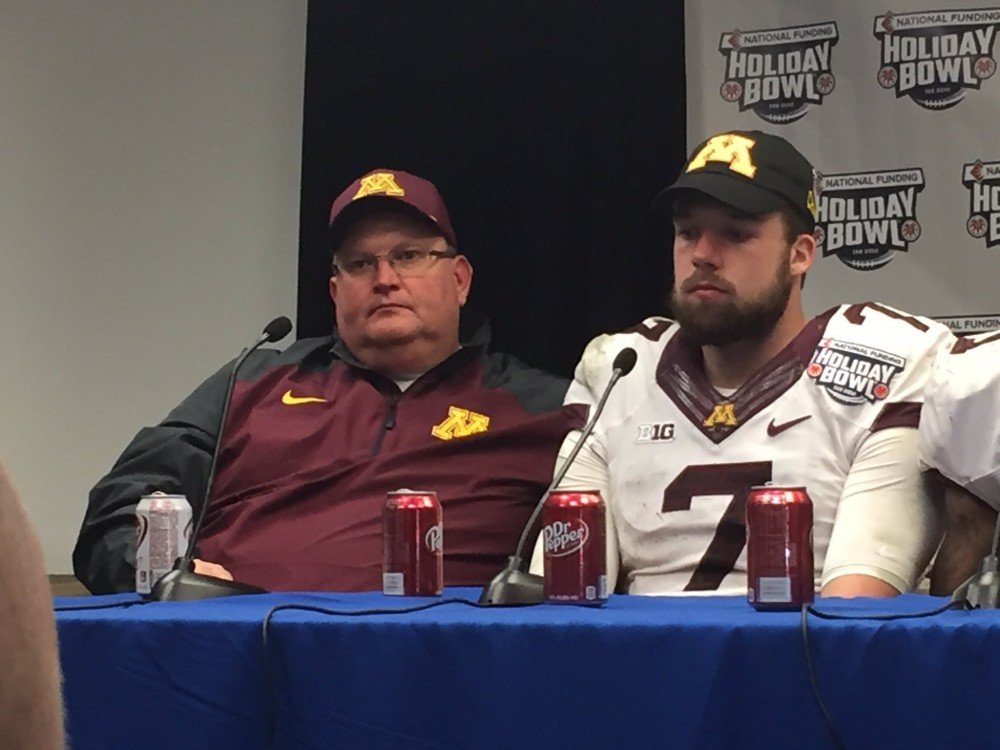 Gophers head coach Tracy Claeys (left) and quarterback Mitch Leidner speak to reporters after the teams 17-12 victory over Washington State in the Holiday Bowl on Dec. 27