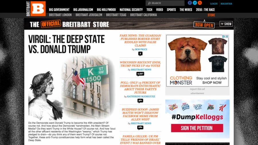 <p>A screenshot of breitbart.com from Monday, Nov. 12.</p>