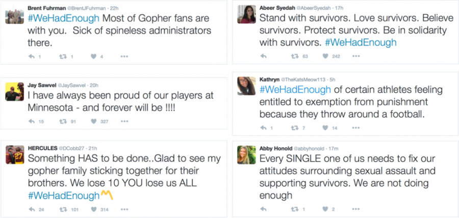 Screenshots+of+Twitter+responses+to+the+Gophers+football+team%27s+decision+to+boycott.+Fans%2C+students%2C+and+those+involved+in+the+athletic+program+took+to+Twitter+to+voice+their+opinion+on+the+situation.