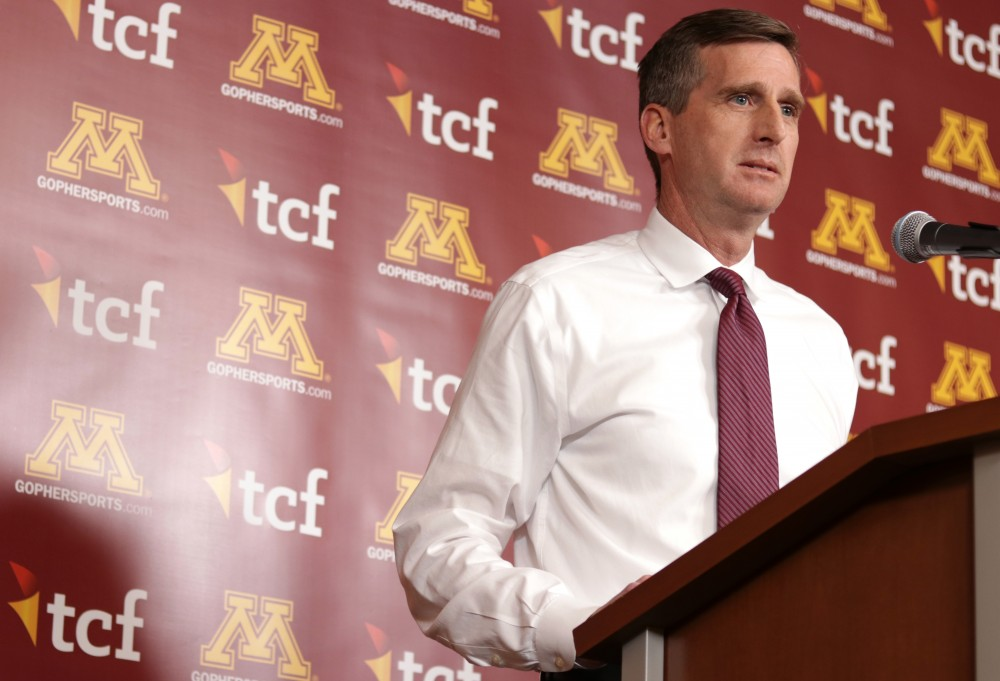 Mark Coyle explains his decision to fire Gophers head football coach Tracy Claeys Tuesday, Jan. 3, at TCF Bank Stadium.