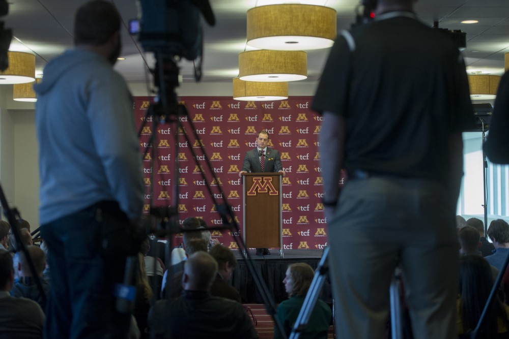 Newly appointed Gophers football coach P.J. Fleck meets with the media on Friday, Jan. 6, 2017 at TCF Bank Stadium.