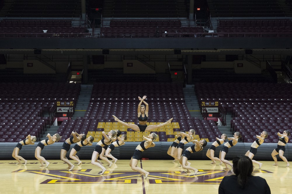 University of Minnesota Dance Teams practices their jazz routine on Monday, Jan. 9, 2017 at Williams Arena prior to their performance at the Spirit Squad Nationals Send Off.
