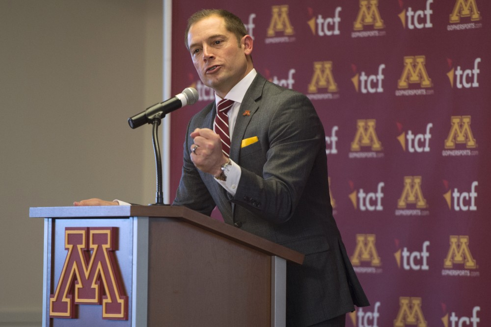 Newly appointed Gophers football head coach P.J. Fleck speaks during a press conference on Friday, Jan. 6 at TCF Bank Stadium.