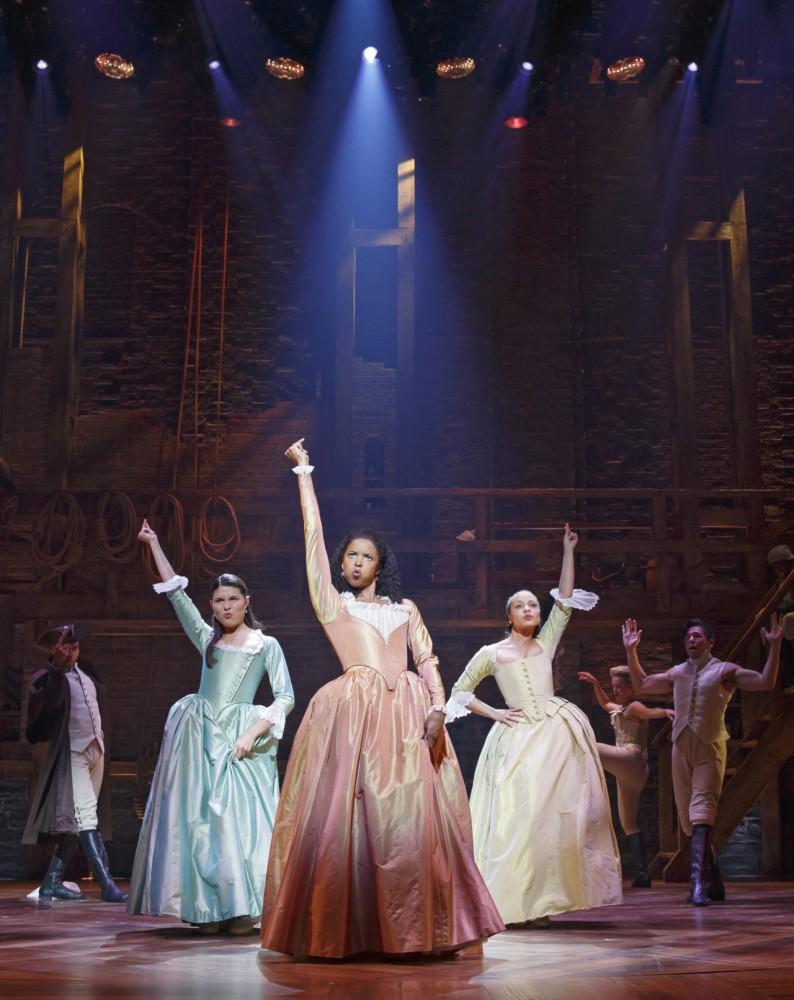 Original Broadway cast members of Hamilton Phillipa Soo, Renee Elise Goldsberry and Jasmine Cephas Jones.