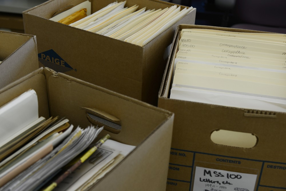 Boxes of writers' material are laid out Tuesday, Jan. 17, 2017 at Andersen Library on West Bank. After receiving a grant, the University's Archives and Special Collections Department is sorting through new materials to provide insight into Minnesota writers' processes.
