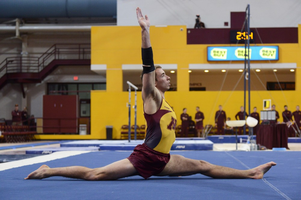 Joel Gagnon competes on the floor during the Gophers' meet against the Air Force on Jan. 21, 2017. The Gophers beat the Air Force 407.700- 395.350.