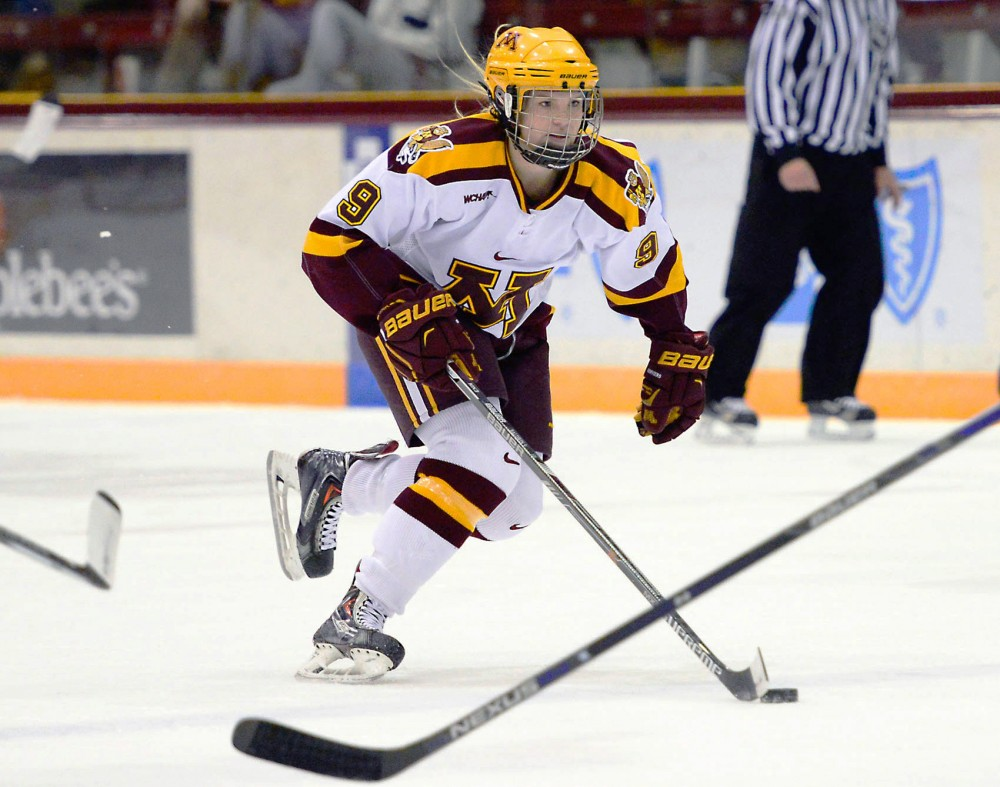 Gophers defenseman Sydney Baldwin maneuvers the puck toward the net at Ridder Arena where Minnesota defeated Yale on Friday night.