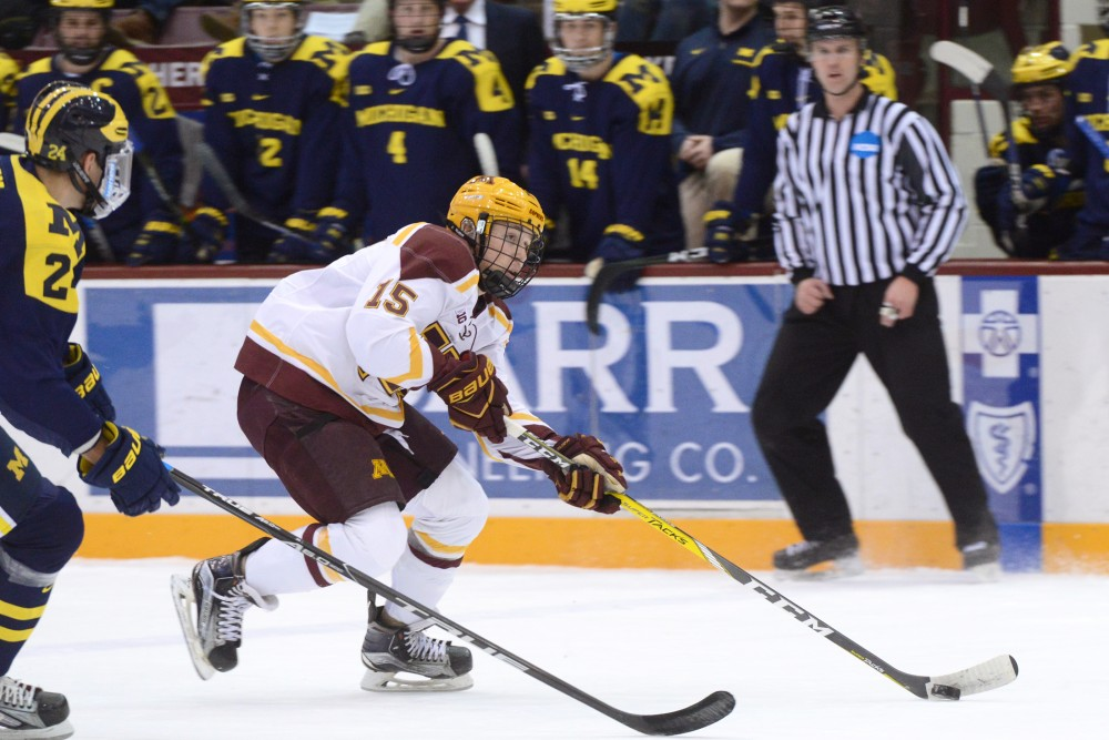 Gophers forward Rem Pitlick skates into the Michigan zone on Friday, Jan. 13, 2017 at Mariucci Arena.