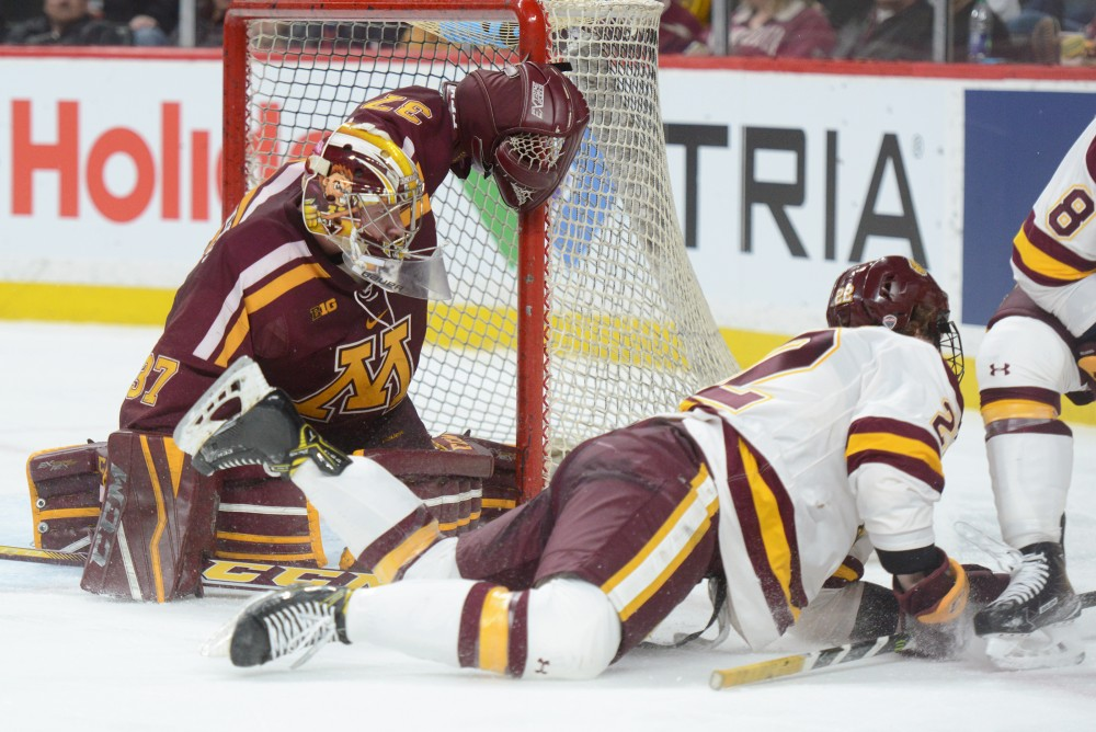 Gophers goaltender Eric Schierhorn watches the puck against the Bulldogs in the North Star College Cup at the Xcel Energy Center in St.Paul on Friday, Jan. 27, 2017. The Bulldogs beat the Gophers 3-2.
