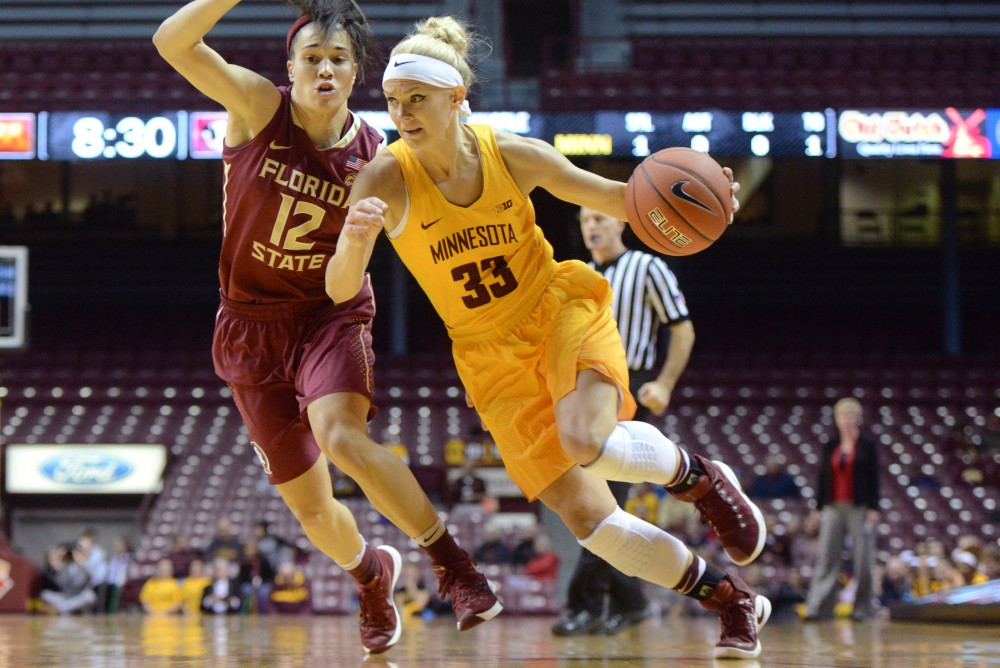 Gophers guard Carlie Wagner runs the ball past Florida State at Williams Arena on Nov. 30, 2016.