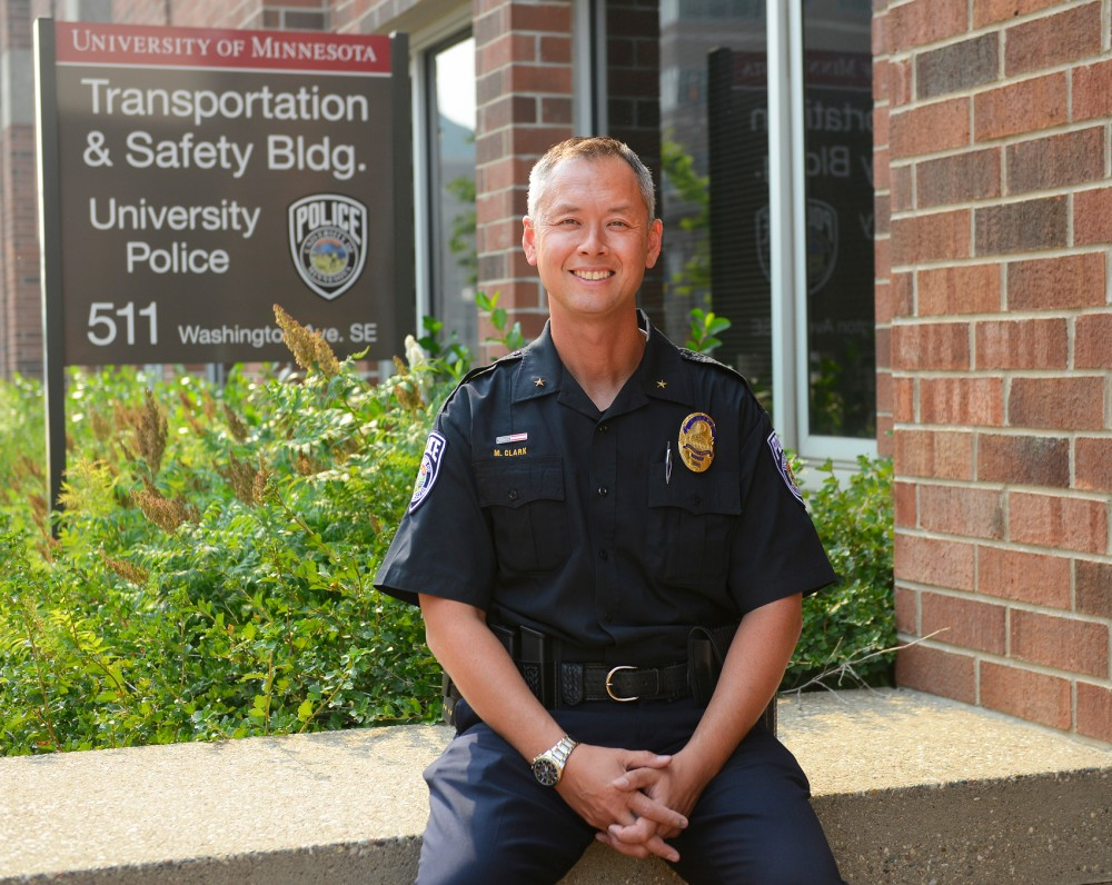 New University of Minnesota Police Department chief Matt Clark poses in the Transportation and Safety Building on Monday. Clark, who has served on the Minneapolis Police Department for more than two decades, will now lead the 50 members of the UMPD as well as the Universitys Public Safety Communications Center.