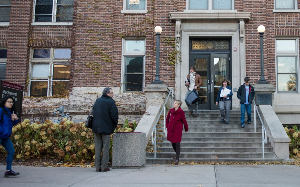 Students and faculty evacuate the Mechanical Engineering building on east bask  Monday around 4:00pm.