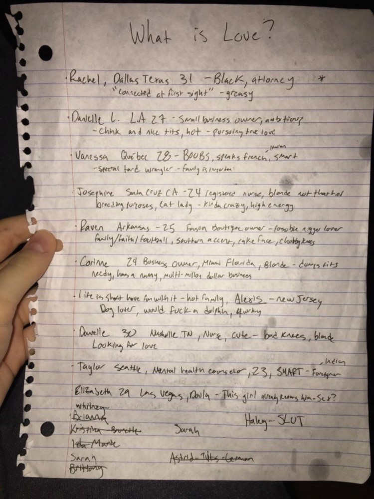 An image of the list about The Bachelorcontestants allegedly written by some University Delta Chi members. City Pages obtained the image from a now-deleted tweet.
