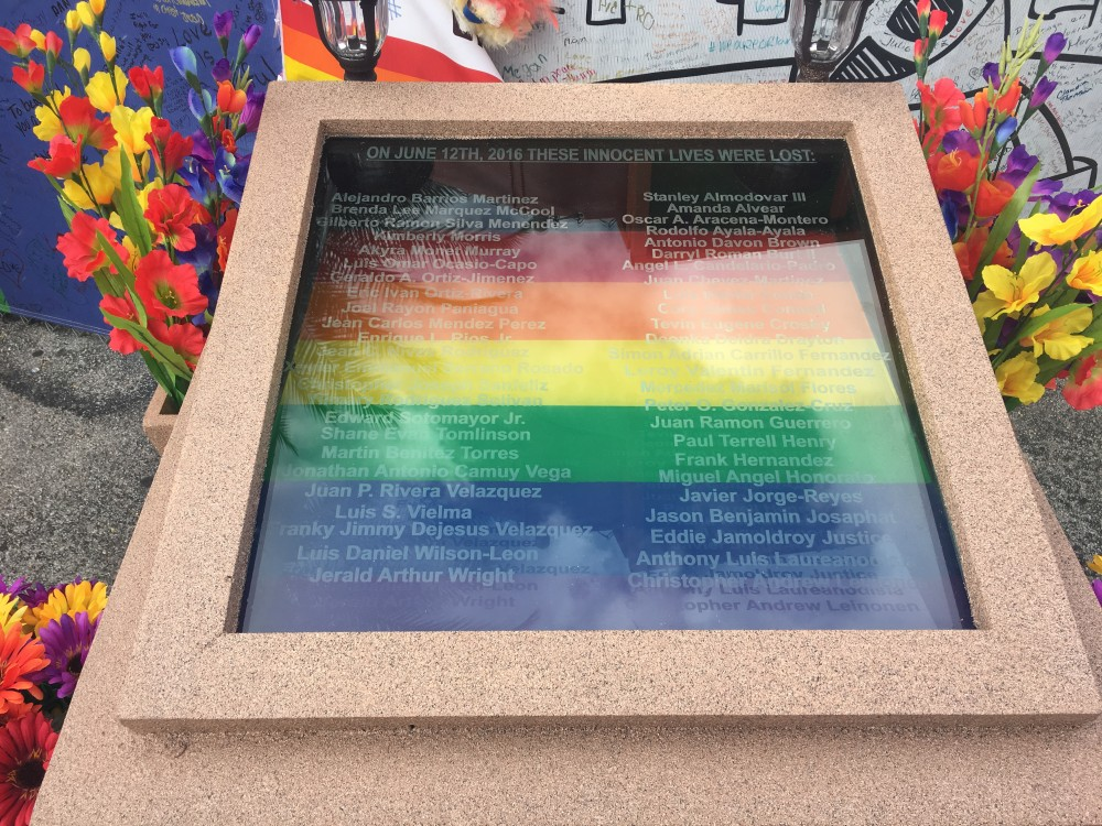 A memorial for the victims of thePulse nightclub shooting in Orlando, Fl.