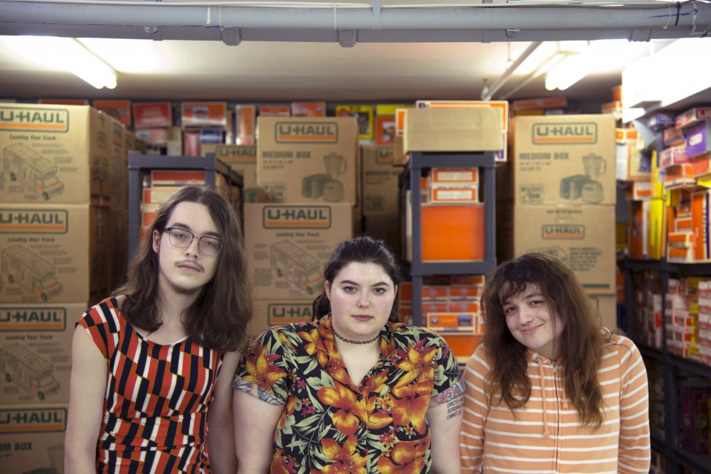 From left, Ty Gale, Lex Noens and Maddie Morley of 4th Curtis pose for a photograph in Gale's father's office on Sunday, Jan. 29, 2017 in St. Paul. Each member of the band is transgender.