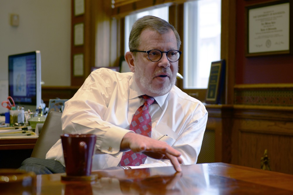 University of Minnesota President Eric Kaler fields questions from the Minnesota Daily on Friday, Oct. 21, 2016 in his Morrill Hall office.