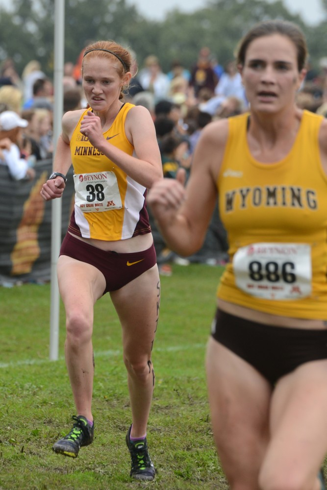 Patty O'Brien runs in the Jack Johnson Women's Gold Race at the Roy Griak Invitational on Saturday, Sept. 24, 2016 at Les Bolstad Golf Course.
