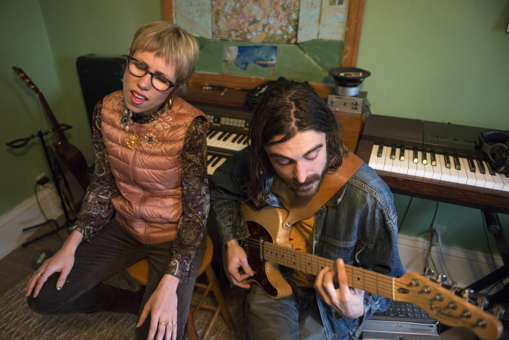 Reb L Limerick and Alex Adkinson from the band Astral Samara sing covers of Arthur Russell's music on Monday, Feb. 20, 2017 at Rebs home in Minneapolis. Various bands are staging a tribute performance dedicated to Arthur Russell.