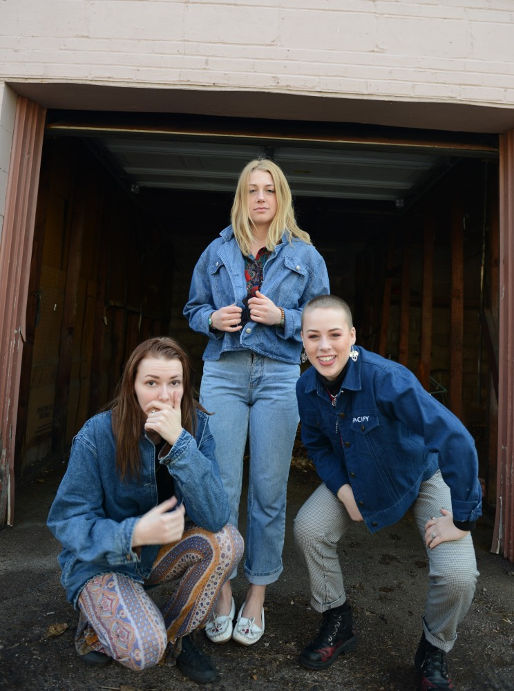 Lisa Persson, Maddie Bolatto and Gabby Bolatto pose for a portrait while wearing original pieces from their clothing brand, Pacify.