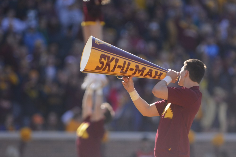 A member of the Golden Gopher Spirit Squad during the 2016 Homecoming game at TCF Bank Stadium on Saturday, Oct. 22, 2016.