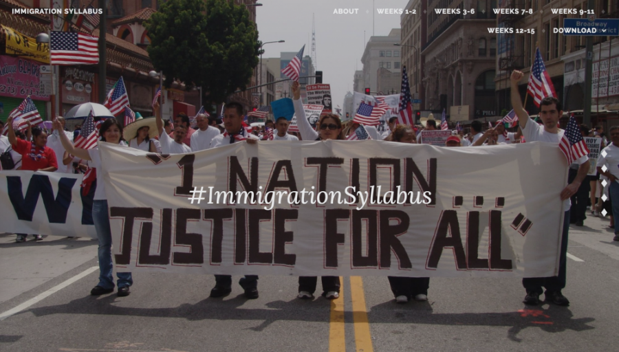 A screenshot from the #ImmigrationSyllabus website, which compiles articles, scholarship, first-hand accounts and books on U.S. immigration.