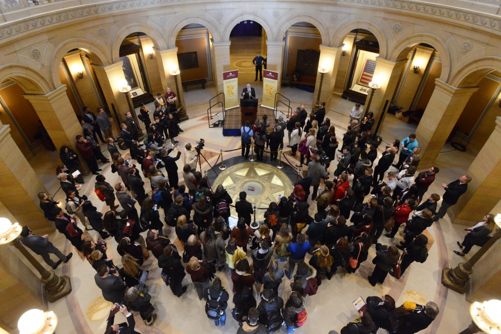 University President Eric Kaler speaks to a crowd of students during Support the U Day at the Minnesota Capitol on Wednesday, March 1, 2017.