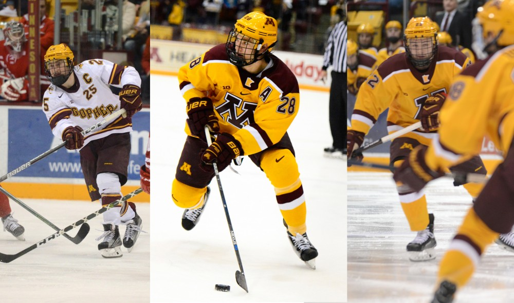 Justin Kloos, Jake Bischoff and Tyler Sheehy play at Mariucci Arena.