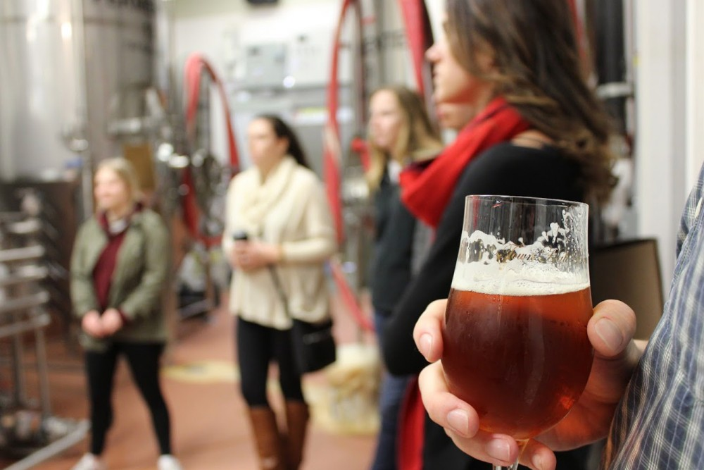 Members of the Ski-Brew-Mah club tour a brewery. The club, which is relatively new to the University of Minnesota, focuses on the business and culture of breweries and wineries.