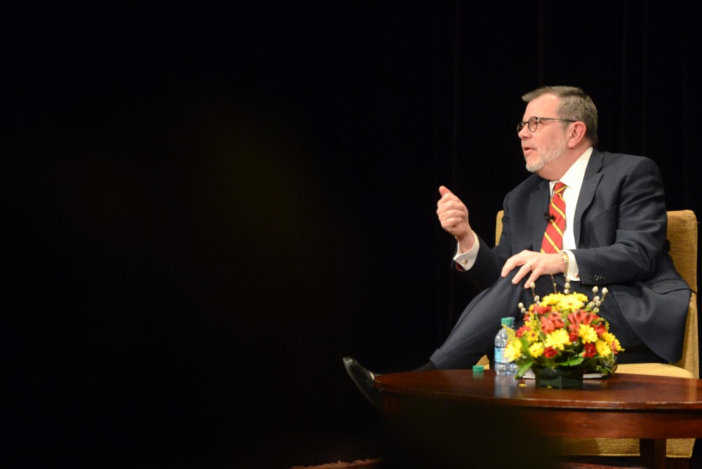 University President Eric Kaler fields questions from the audience at his State of the University address in Coffman Memorial Union on Thursday, March 2, 2017.